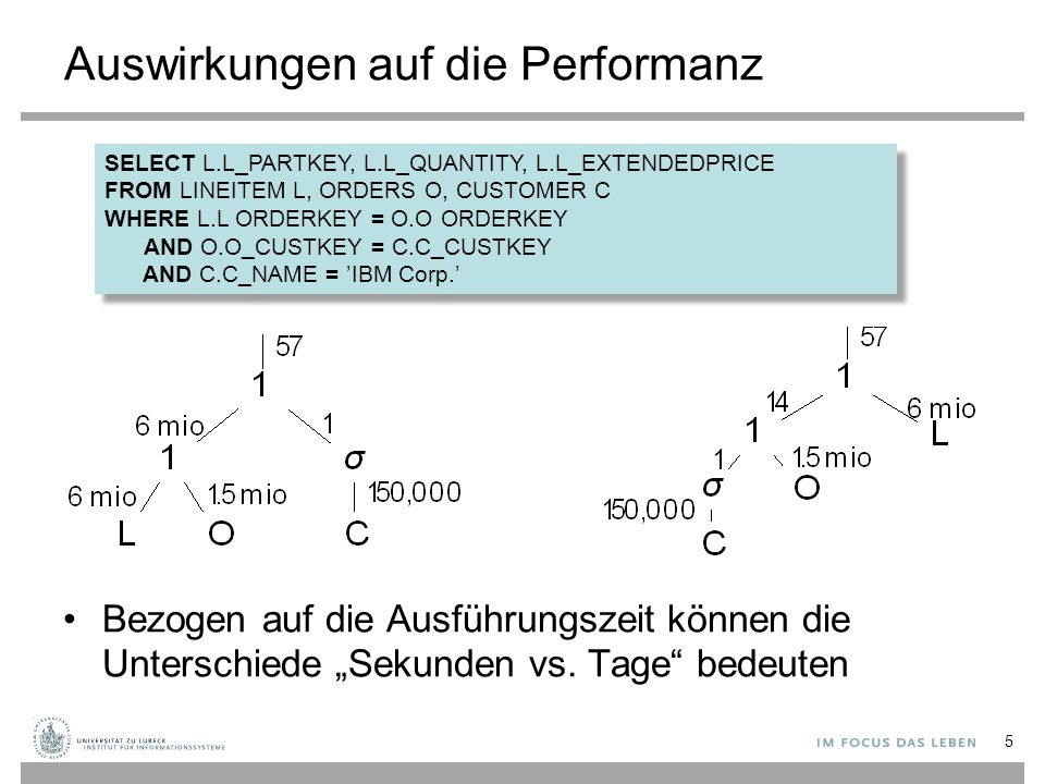 """Auswirkungen auf die Performanz Bezogen auf die Ausführungszeit können die Unterschiede """"Sekunden vs."""