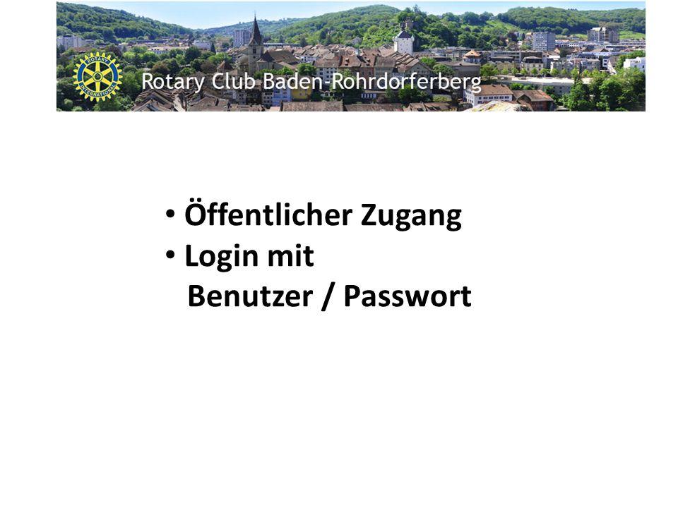 Öffentlicher Zugang Login mit Benutzer / Passwort
