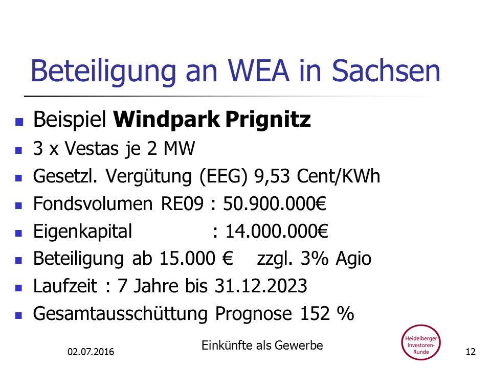 Beteiligung an WEA in Sachsen Beispiel Windpark Prignitz 3 x Vestas je 2 MW Gesetzl.