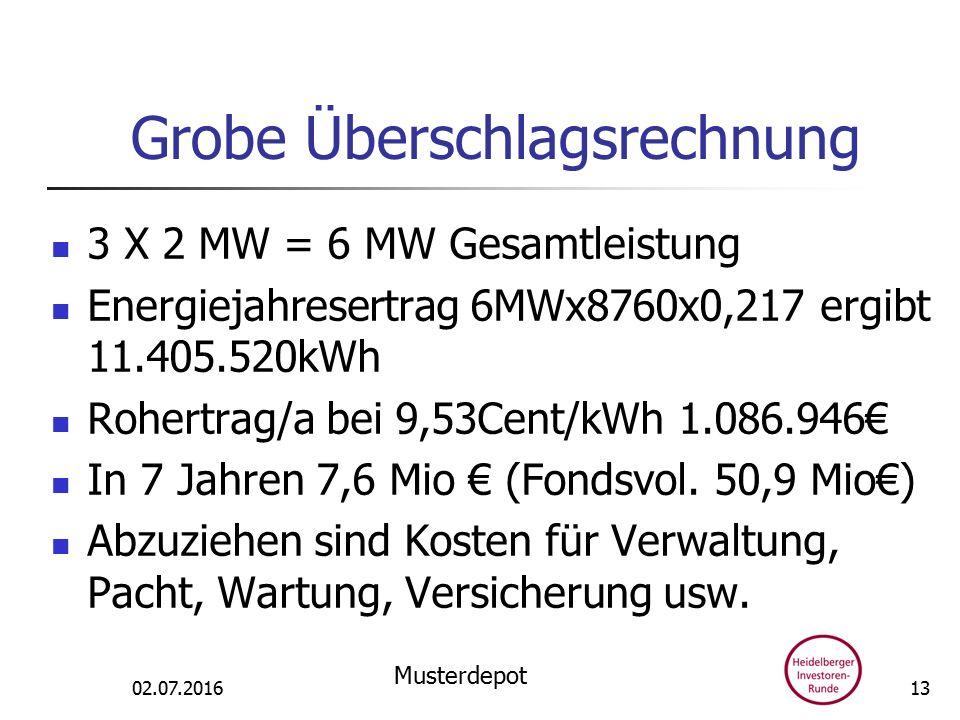 Grobe Überschlagsrechnung 3 X 2 MW = 6 MW Gesamtleistung Energiejahresertrag 6MWx8760x0,217 ergibt 11.405.520kWh Rohertrag/a bei 9,53Cent/kWh 1.086.946€ In 7 Jahren 7,6 Mio € (Fondsvol.