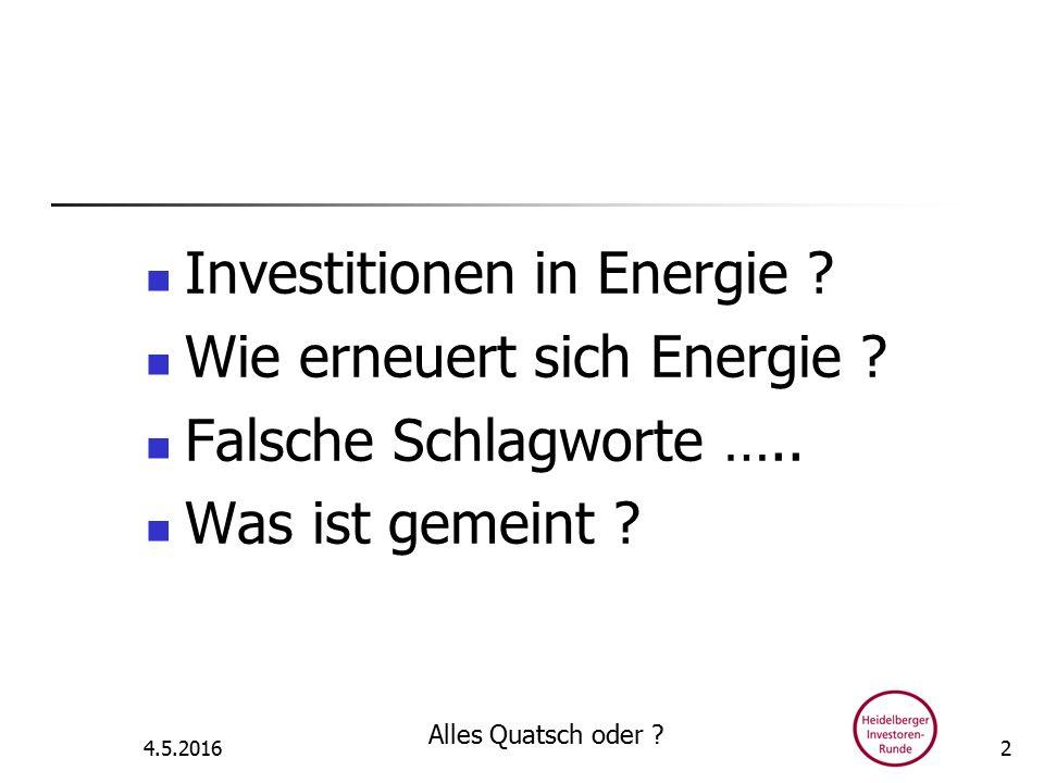 Investitionen in Energie .Wie erneuert sich Energie .