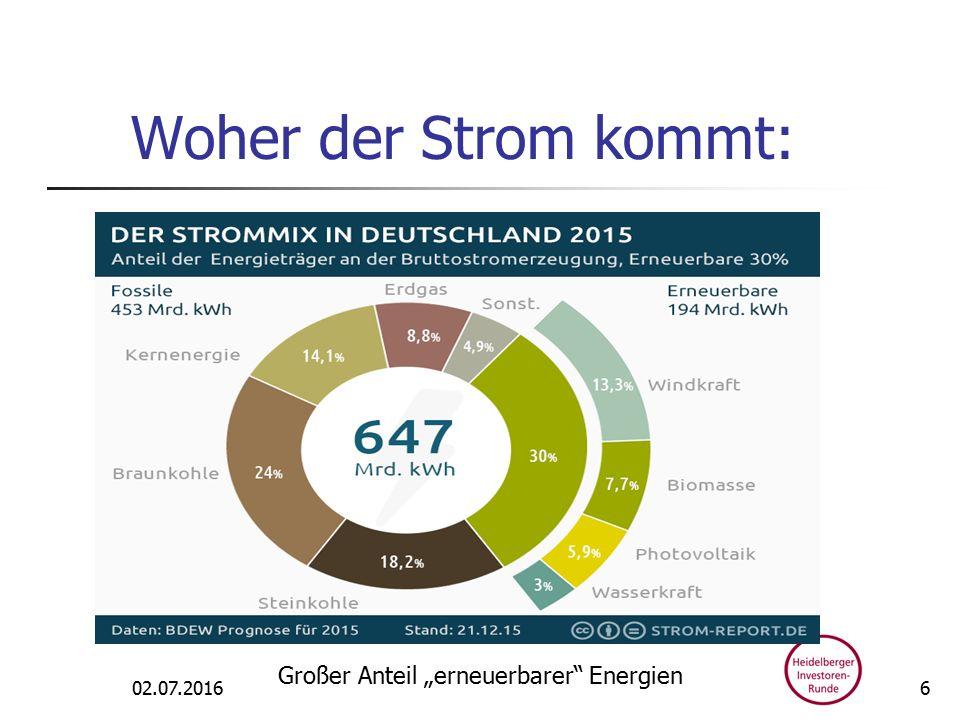 """Woher der Strom kommt: 02.07.2016 Großer Anteil """"erneuerbarer Energien 6"""