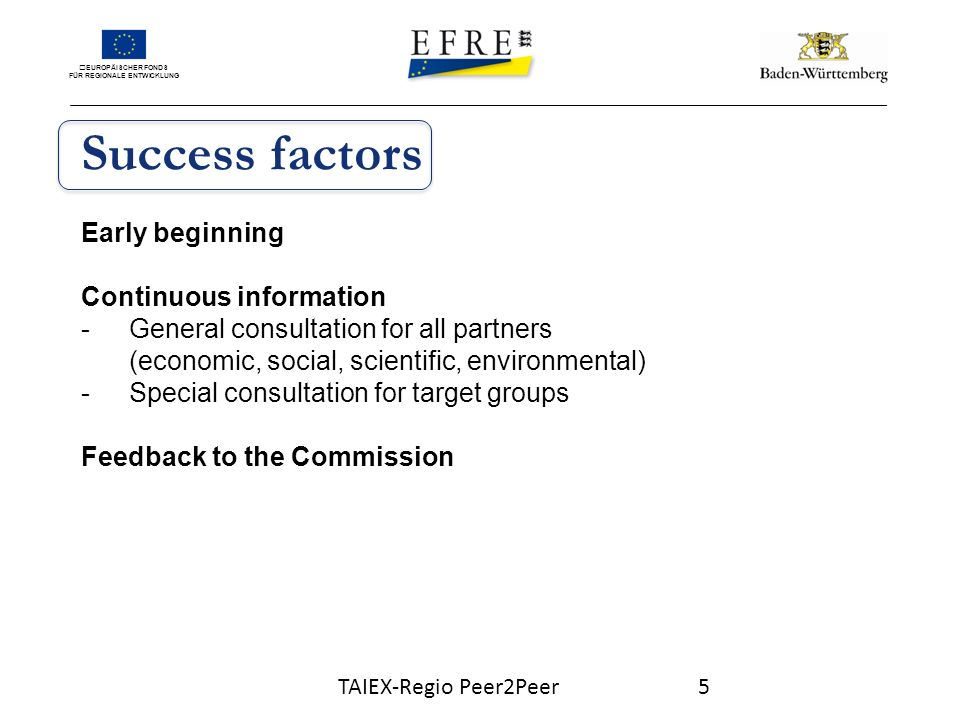 EUROPÄISCHER FONDS FÜR REGIONALE ENTWICKLUNG Success factors Early beginning Continuous information -General consultation for all partners (economic, social, scientific, environmental) -Special consultation for target groups Feedback to the Commission TAIEX-Regio Peer2Peer5