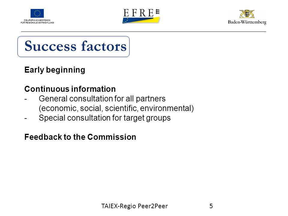 EUROPÄISCHER FONDS FÜR REGIONALE ENTWICKLUNG Early beginning Funding periode 2014 - 2020 -First ideas in 2010 -Use of the evaluation process 2007-2013 -First presentation end of 2010 -First consultation 2011 TAIEX-Regio Peer2Peer6