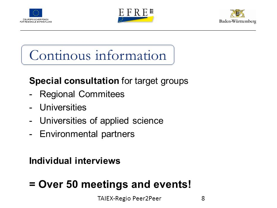 EUROPÄISCHER FONDS FÜR REGIONALE ENTWICKLUNG Continous information Special consultation for target groups -Regional Commitees -Universities -Universities of applied science -Environmental partners Individual interviews = Over 50 meetings and events.