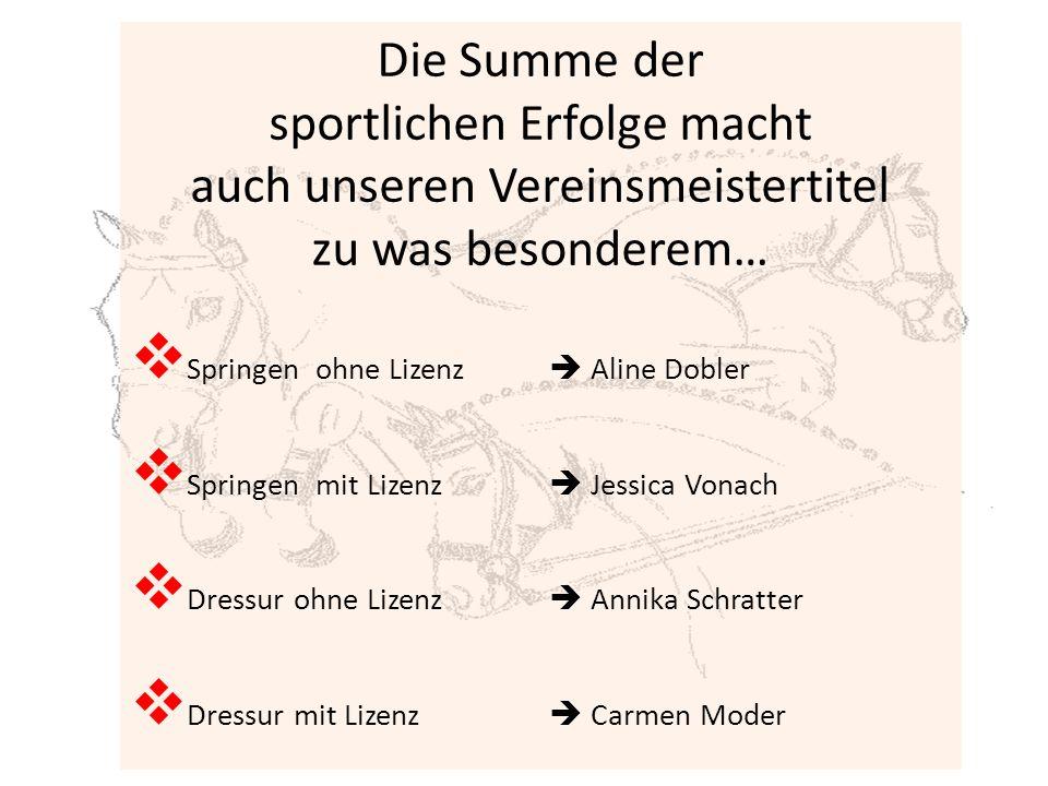 Goldmedaille:  Springen Allgemein  Bianca Rüscher  Springen Jugend  Jessica Vonach  Dressur Pony Jugend  Annika Schratter  Springen Pony Jugend