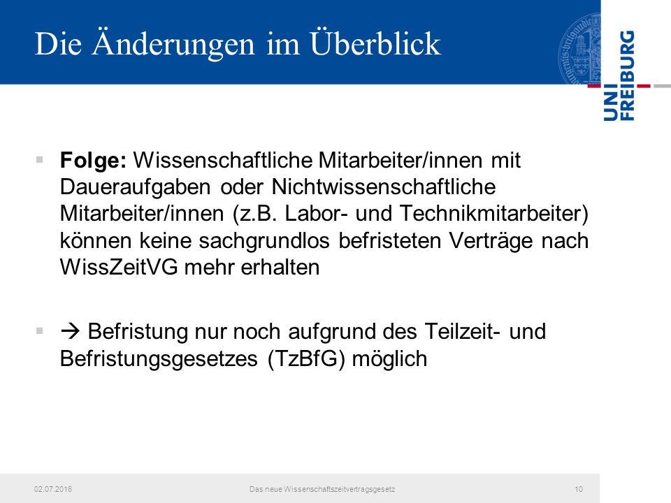 Die Änderungen im Überblick  Folge: Wissenschaftliche Mitarbeiter/innen mit Daueraufgaben oder Nichtwissenschaftliche Mitarbeiter/innen (z.B.