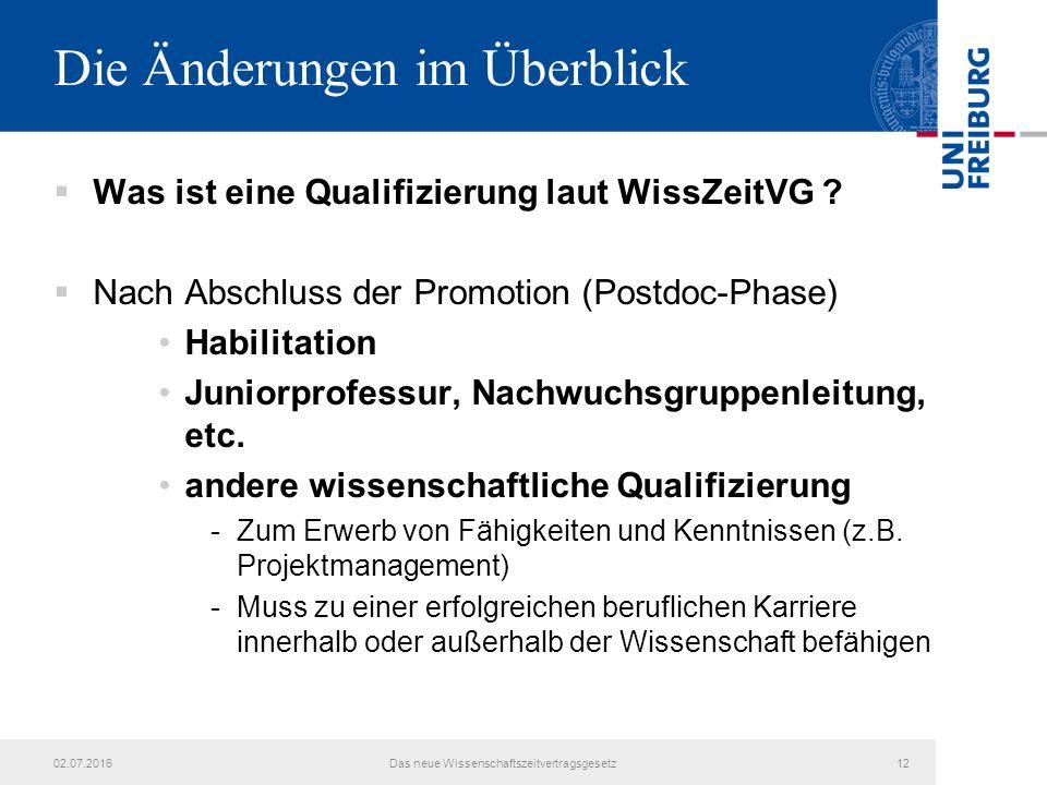 Die Änderungen im Überblick  Was ist eine Qualifizierung laut WissZeitVG ?  Nach Abschluss der Promotion (Postdoc-Phase) Habilitation Juniorprofessu