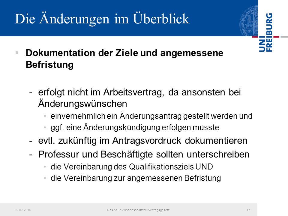 Die Änderungen im Überblick  Dokumentation der Ziele und angemessene Befristung -erfolgt nicht im Arbeitsvertrag, da ansonsten bei Änderungswünschen einvernehmlich ein Änderungsantrag gestellt werden und ggf.