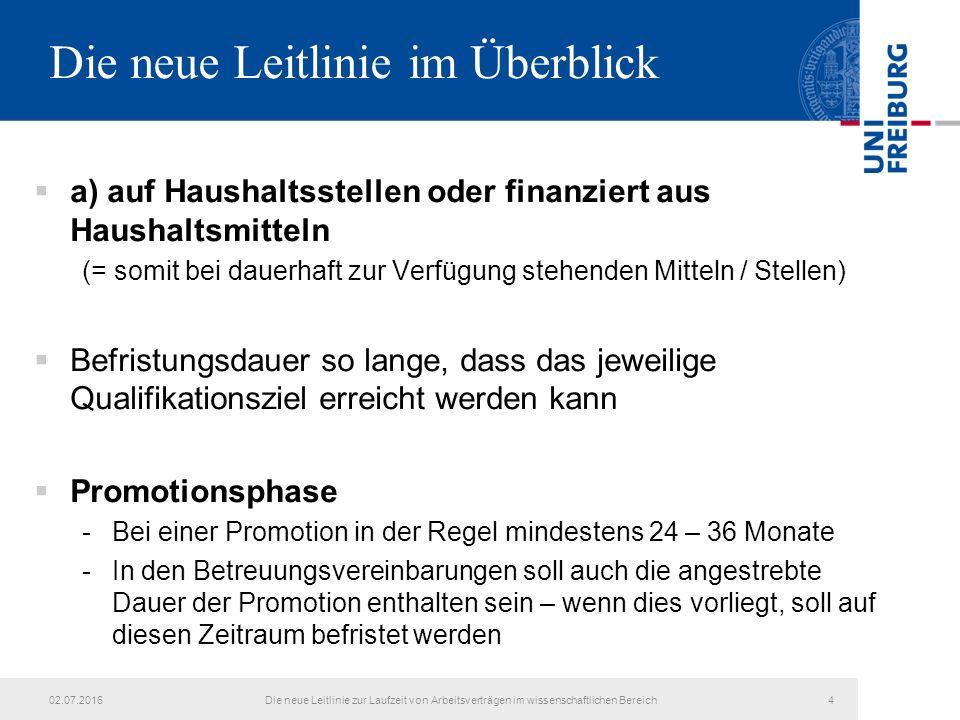Die neue Leitlinie im Überblick  a) auf Haushaltsstellen oder finanziert aus Haushaltsmitteln (= somit bei dauerhaft zur Verfügung stehenden Mitteln