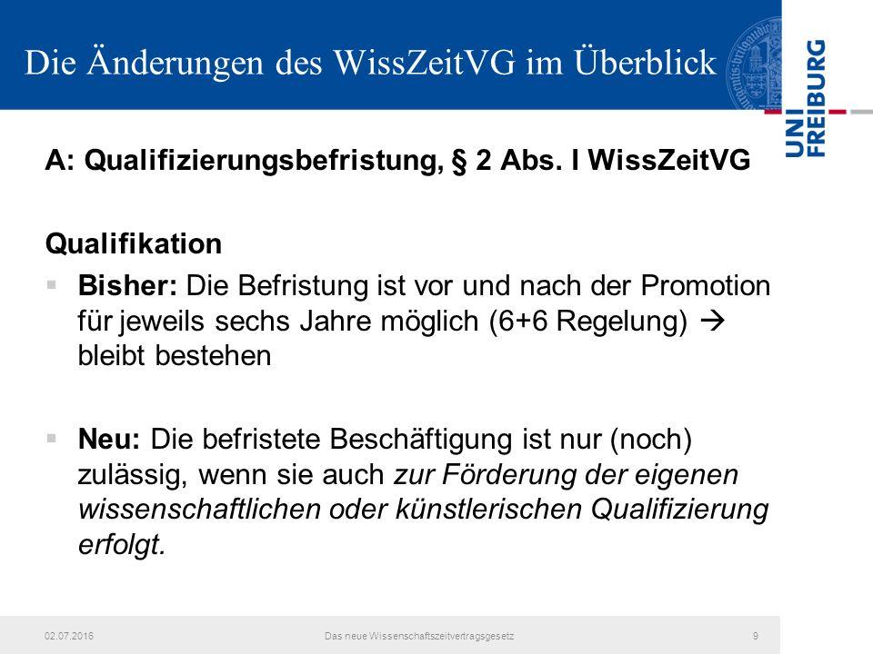 Die Änderungen des WissZeitVG im Überblick A: Qualifizierungsbefristung, § 2 Abs. I WissZeitVG Qualifikation  Bisher: Die Befristung ist vor und nach