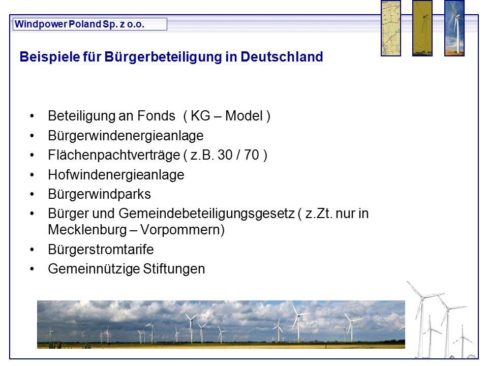Windpower Poland Sp. z o.o. Beispiele für Bürgerbeteiligung in Deutschland Beteiligung an Fonds ( KG – Model ) Bürgerwindenergieanlage Flächenpachtver