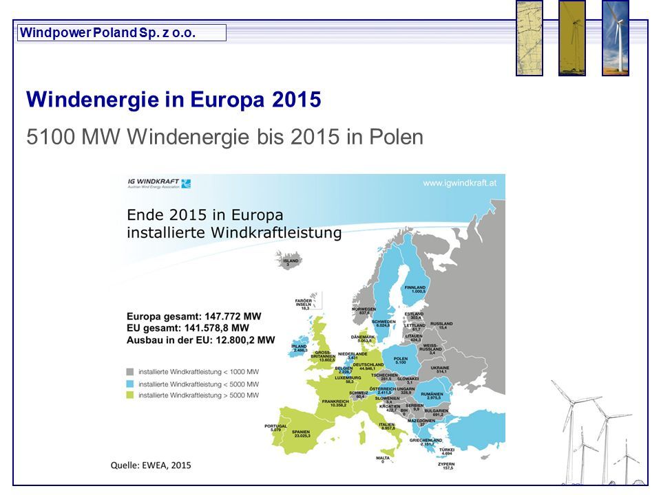 Windpower Poland Sp. z o.o. Windenergie in Europa 2015 5100 MW Windenergie bis 2015 in Polen