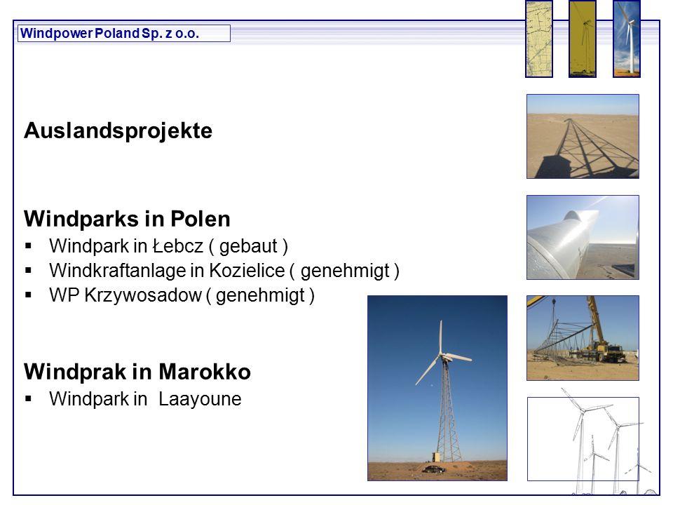 Windpower Poland Sp.z o.o. mit 10 H ilość elektrowni wiatrowych – 34 szt.
