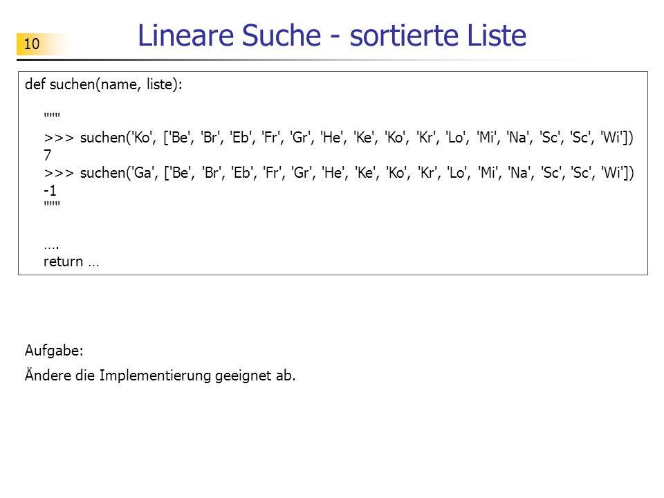 10 Lineare Suche - sortierte Liste Aufgabe: Ändere die Implementierung geeignet ab.