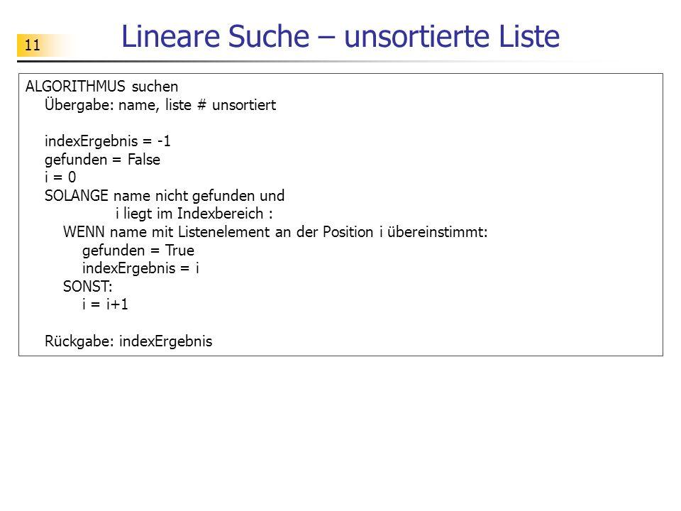 11 Lineare Suche – unsortierte Liste ALGORITHMUS suchen Übergabe: name, liste # unsortiert indexErgebnis = -1 gefunden = False i = 0 SOLANGE name nicht gefunden und i liegt im Indexbereich : WENN name mit Listenelement an der Position i übereinstimmt: gefunden = True indexErgebnis = i SONST: i = i+1 Rückgabe: indexErgebnis