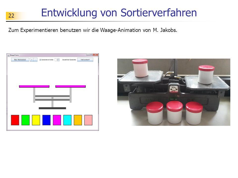 22 Entwicklung von Sortierverfahren Zum Experimentieren benutzen wir die Waage-Animation von M.