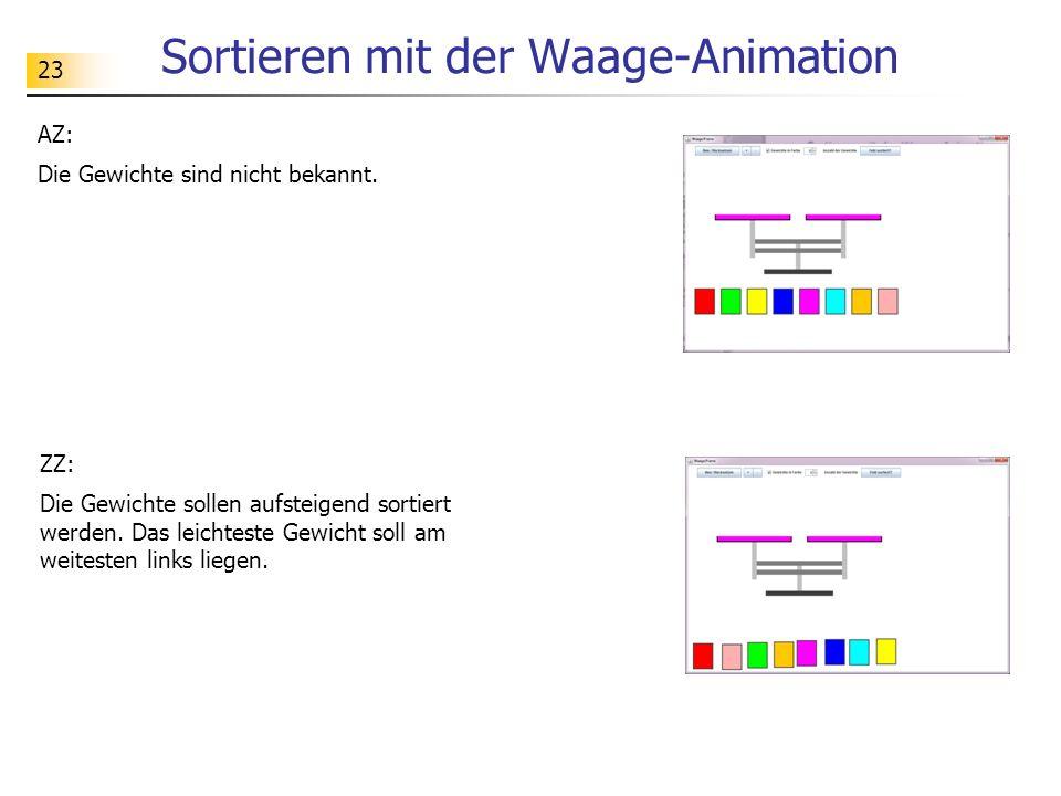 23 Sortieren mit der Waage-Animation AZ: Die Gewichte sind nicht bekannt.