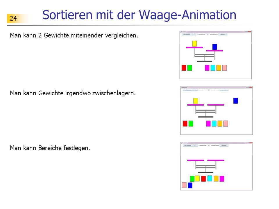 24 Sortieren mit der Waage-Animation Man kann 2 Gewichte miteinender vergleichen.