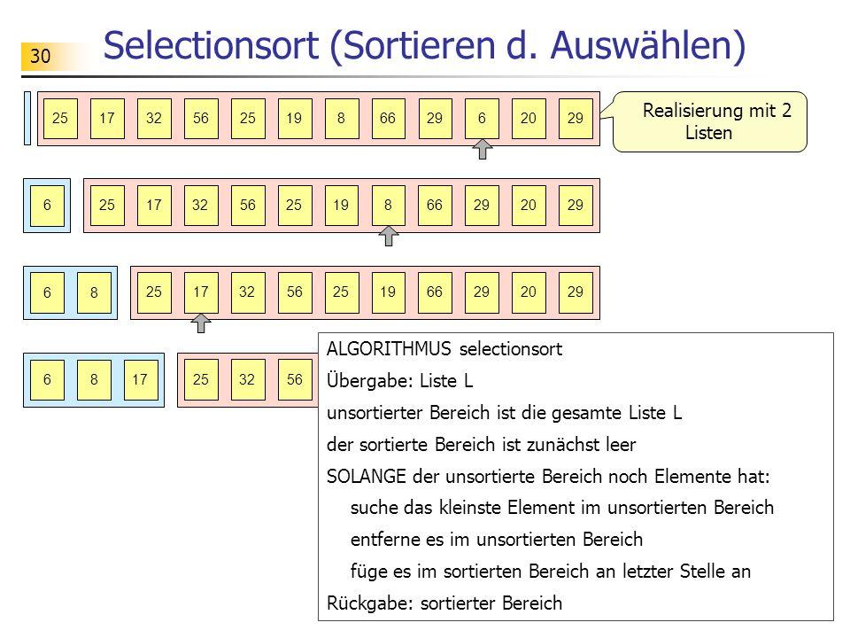 30 Selectionsort (Sortieren d.