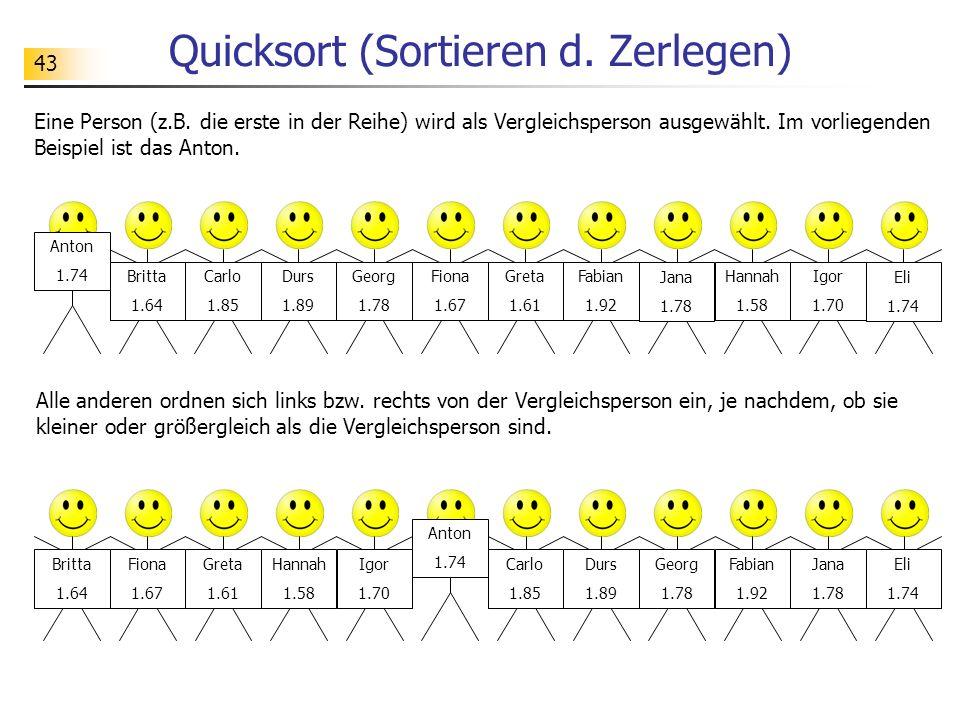 43 Quicksort (Sortieren d. Zerlegen) Eine Person (z.B.