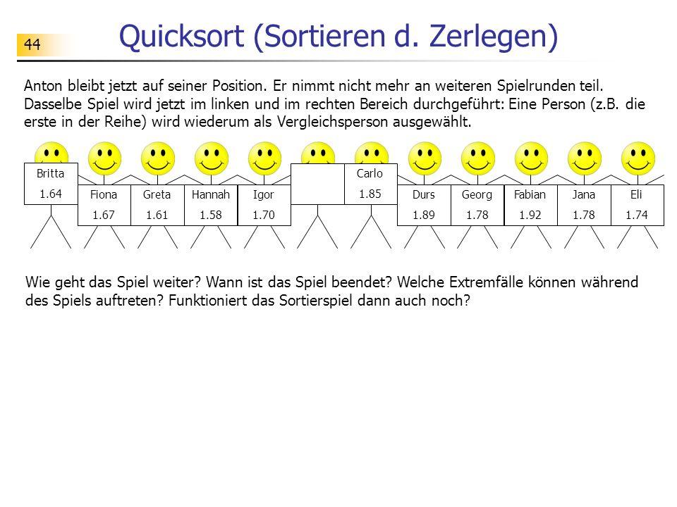44 Quicksort (Sortieren d. Zerlegen) Anton bleibt jetzt auf seiner Position.