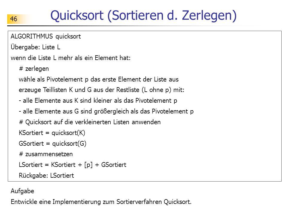46 Quicksort (Sortieren d.