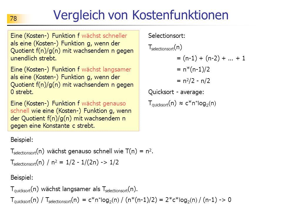 78 Vergleich von Kostenfunktionen Eine (Kosten-) Funktion f wächst schneller als eine (Kosten-) Funktion g, wenn der Quotient f(n)/g(n) mit wachsendem n gegen unendlich strebt.
