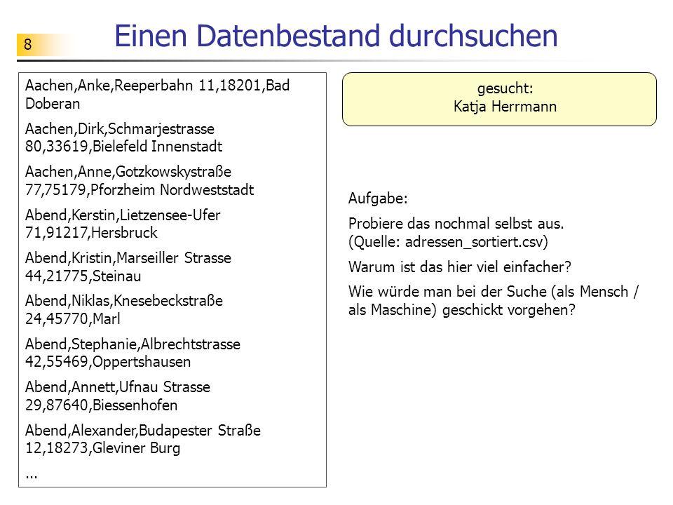 49 Quicksort – alternative Version Eine Person (z.B.