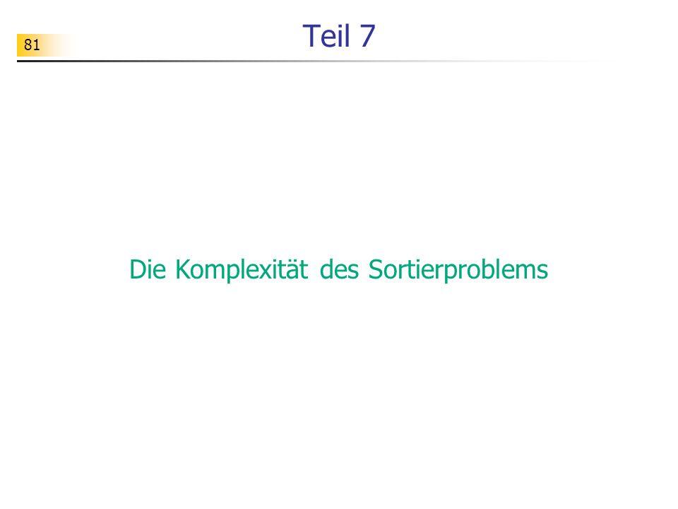 81 Teil 7 Die Komplexität des Sortierproblems