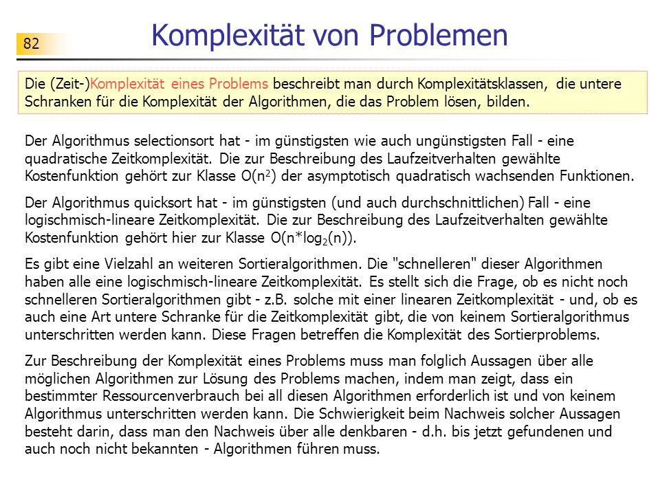 82 Komplexität von Problemen Der Algorithmus selectionsort hat - im günstigsten wie auch ungünstigsten Fall - eine quadratische Zeitkomplexität.