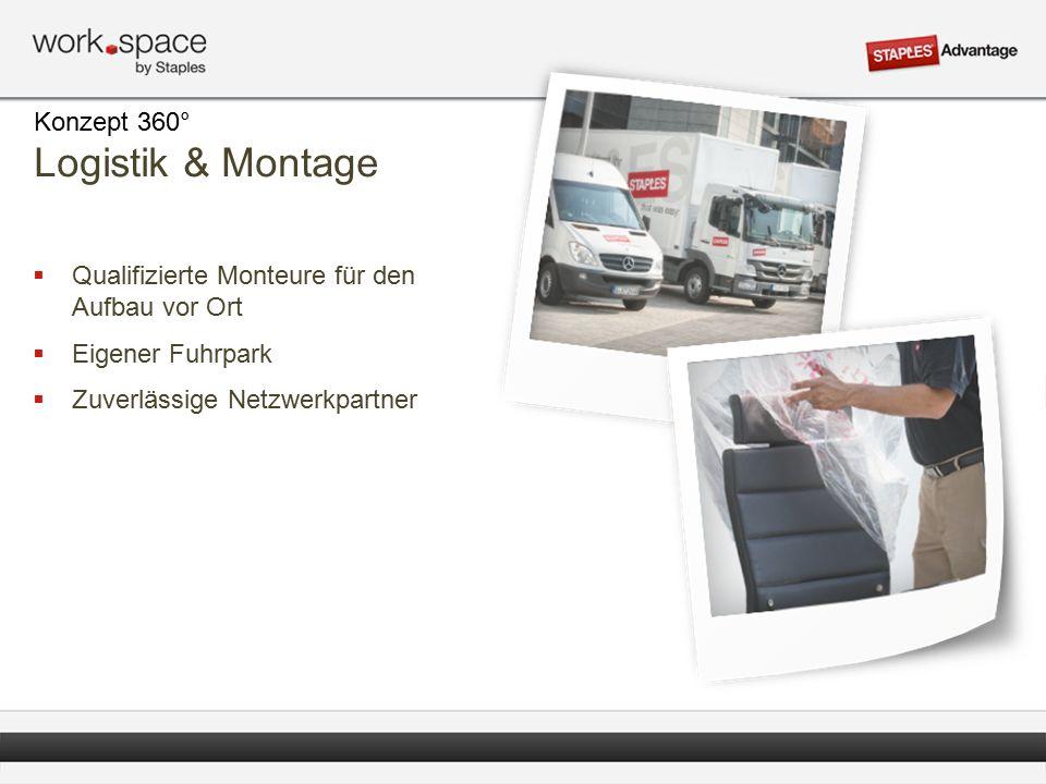  Qualifizierte Monteure für den Aufbau vor Ort  Eigener Fuhrpark  Zuverlässige Netzwerkpartner Konzept 360° Logistik & Montage