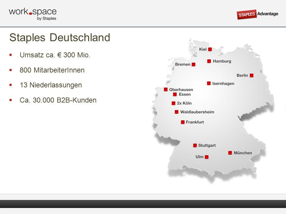 Staples Deutschland  Umsatz ca. € 300 Mio.  800 MitarbeiterInnen  13 Niederlassungen  Ca.