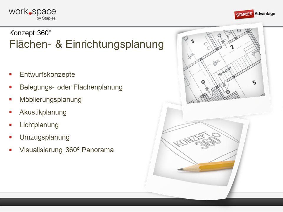  Entwurfskonzepte  Belegungs- oder Flächenplanung  Möblierungsplanung  Akustikplanung  Lichtplanung  Umzugsplanung  Visualisierung 360º Panorama Konzept 360° Flächen- & Einrichtungsplanung