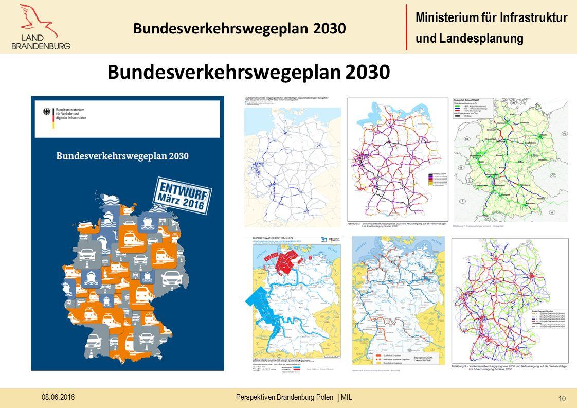 Ministerium für Infrastruktur und Landesplanung 08.06.2016Perspektiven Brandenburg-Polen | MIL 10 Bundesverkehrswegeplan 2030