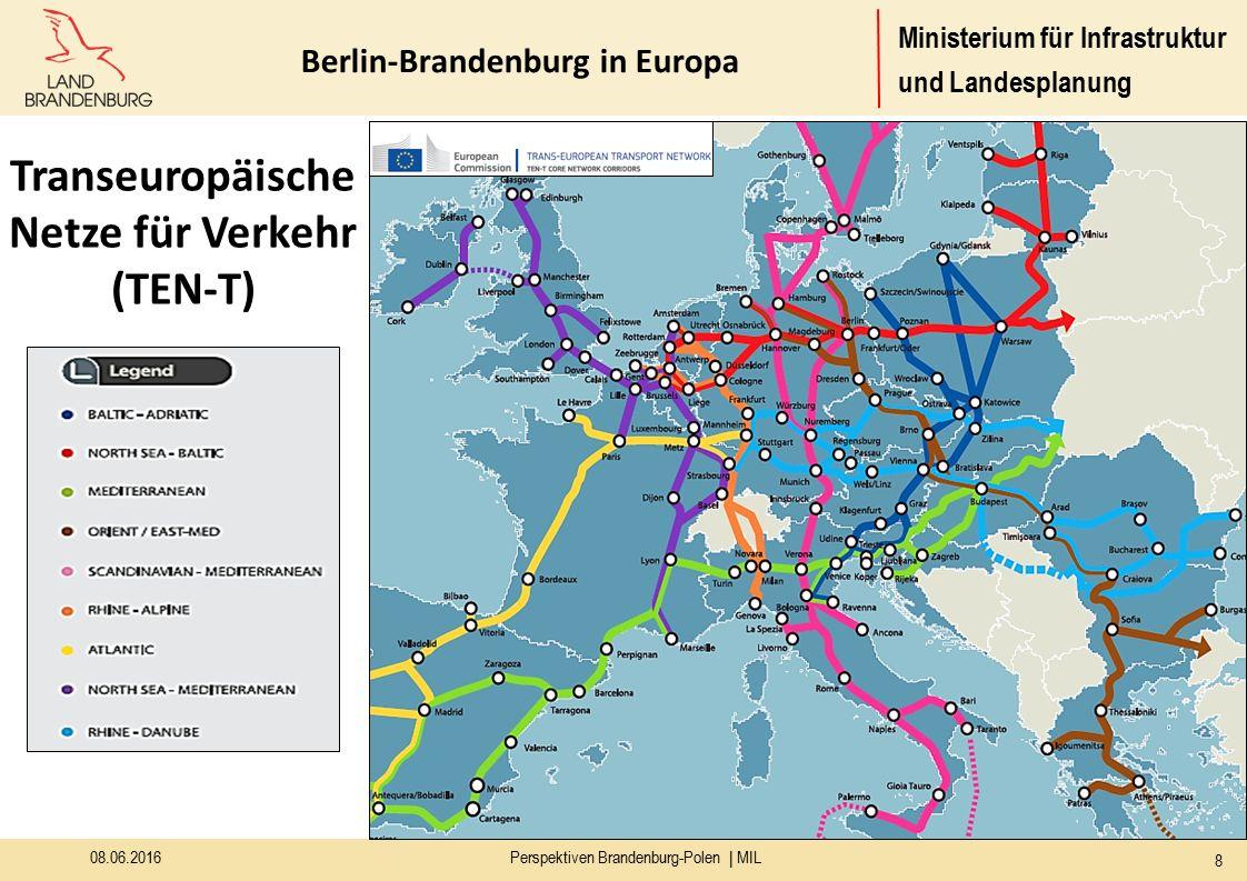Ministerium für Infrastruktur und Landesplanung 08.06.2016Perspektiven Brandenburg-Polen | MIL 8 Transeuropäische Netze für Verkehr (TEN-T) Berlin-Brandenburg in Europa