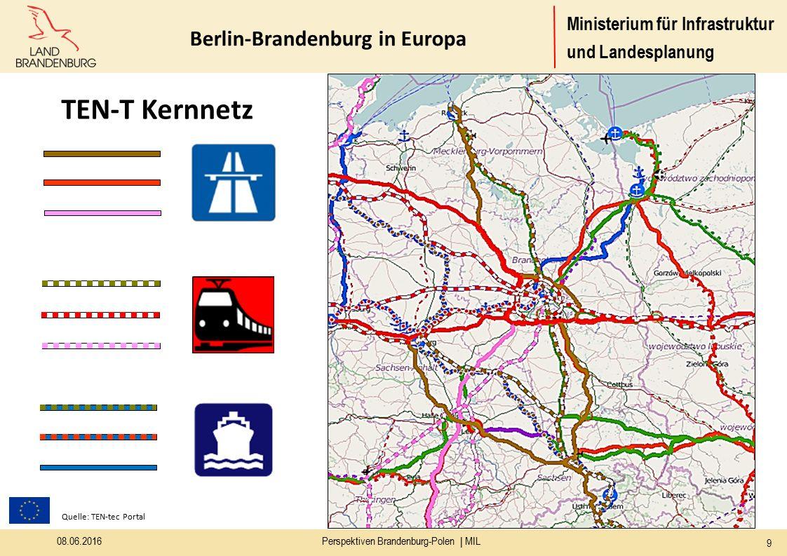 Ministerium für Infrastruktur und Landesplanung Berlin-Brandenburg in Europa Quelle: TEN-tec Portal TEN-T Kernnetz 08.06.2016Perspektiven Brandenburg-Polen | MIL 9