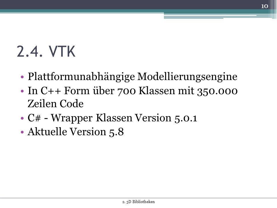 2.4. VTK Plattformunabhängige Modellierungsengine In C++ Form über 700 Klassen mit 350.000 Zeilen Code C# - Wrapper Klassen Version 5.0.1 Aktuelle Ver