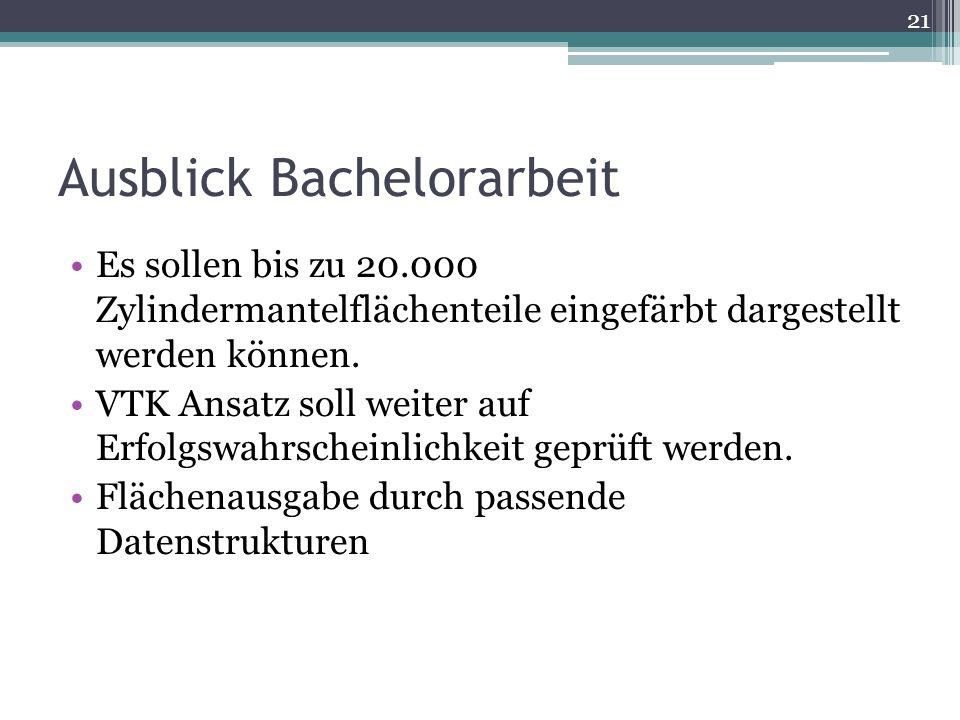 Ausblick Bachelorarbeit Es sollen bis zu 20.000 Zylindermantelflächenteile eingefärbt dargestellt werden können.