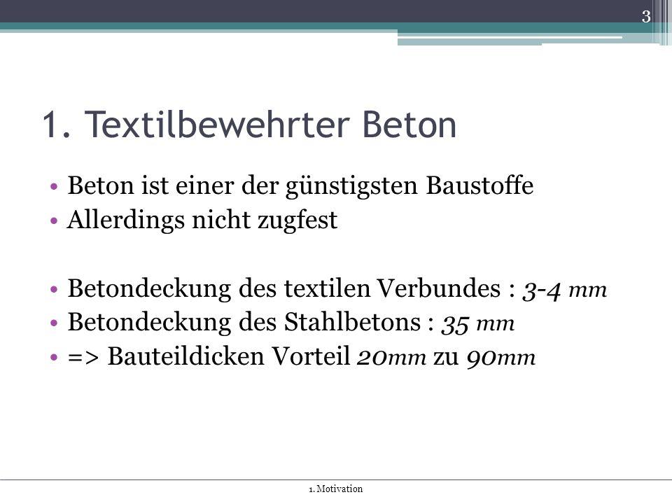 1. Textilbewehrter Beton Beton ist einer der günstigsten Baustoffe Allerdings nicht zugfest Betondeckung des textilen Verbundes : 3-4 mm Betondeckung