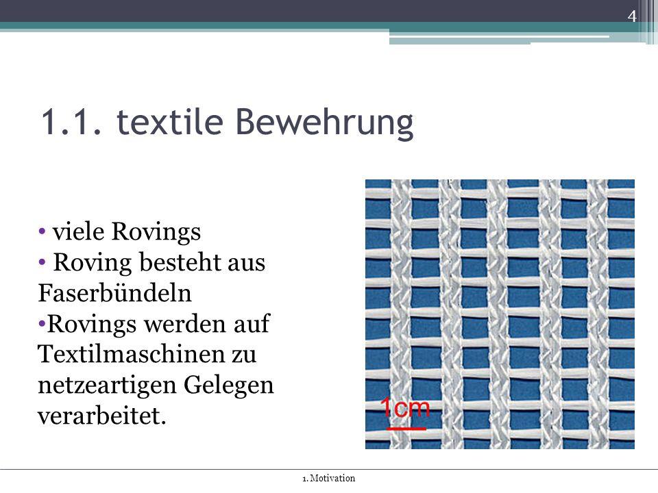 1.1. textile Bewehrung 4 viele Rovings Roving besteht aus Faserbündeln Rovings werden auf Textilmaschinen zu netzeartigen Gelegen verarbeitet. 1. Moti