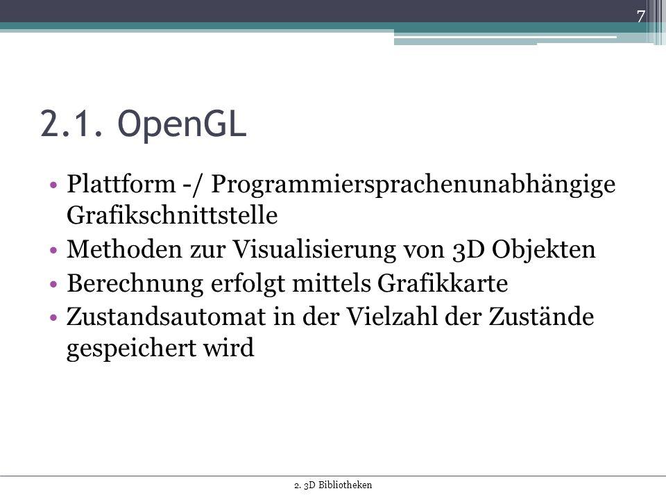 2.1. OpenGL Plattform -/ Programmiersprachenunabhängige Grafikschnittstelle Methoden zur Visualisierung von 3D Objekten Berechnung erfolgt mittels Gra