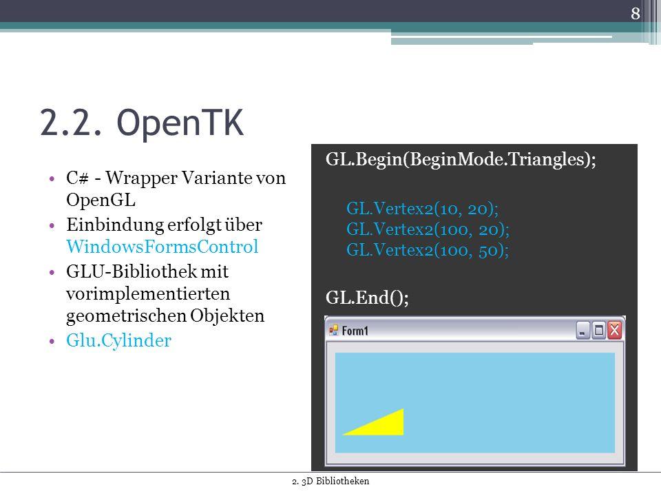 2.2. OpenTK C# - Wrapper Variante von OpenGL Einbindung erfolgt über WindowsFormsControl GLU-Bibliothek mit vorimplementierten geometrischen Objekten