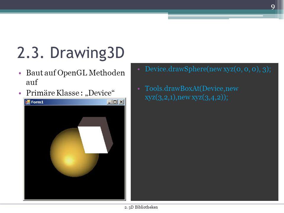 "2.3. Drawing3D Baut auf OpenGL Methoden auf Primäre Klasse : ""Device"" Device.drawSphere(new xyz(0, 0, 0), 3); Tools.drawBoxAt(Device,new xyz(3,2,1),ne"
