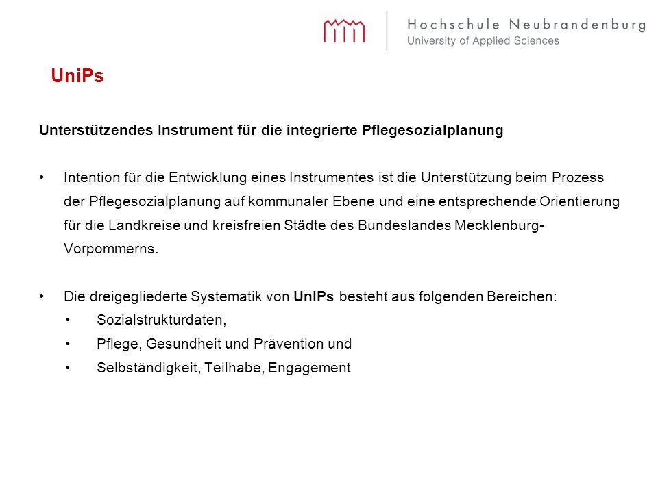 UniPs Unterstützendes Instrument für die integrierte Pflegesozialplanung Intention für die Entwicklung eines Instrumentes ist die Unterstützung beim Prozess der Pflegesozialplanung auf kommunaler Ebene und eine entsprechende Orientierung für die Landkreise und kreisfreien Städte des Bundeslandes Mecklenburg- Vorpommerns.