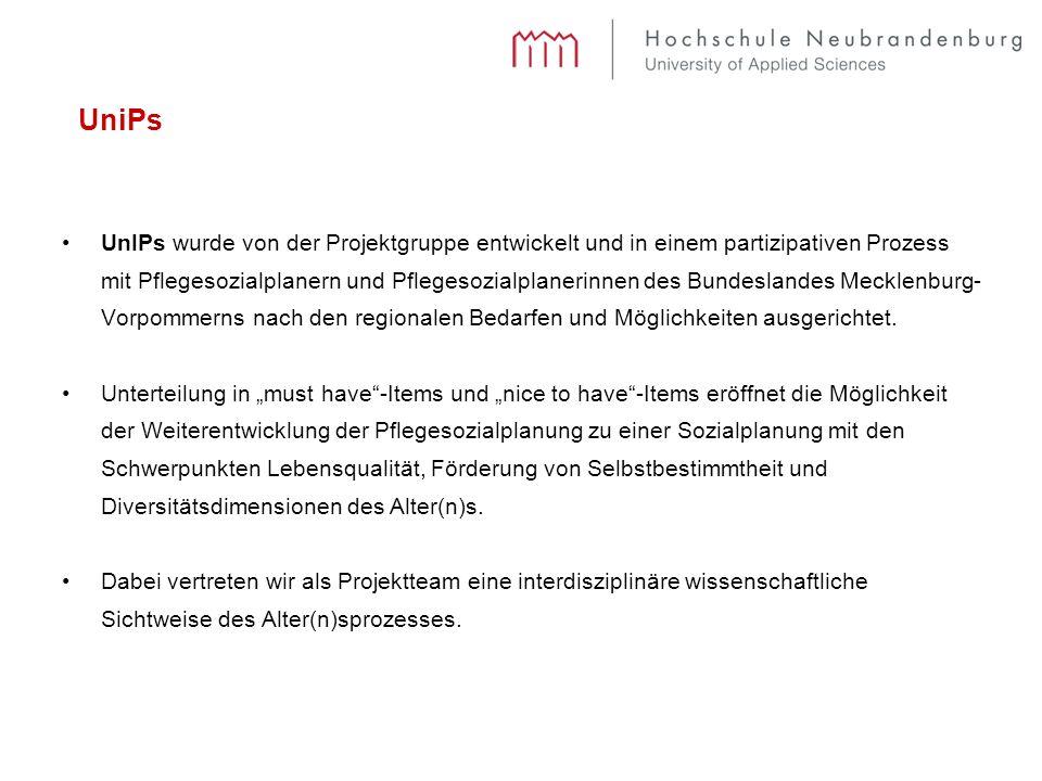 UnIPs wurde von der Projektgruppe entwickelt und in einem partizipativen Prozess mit Pflegesozialplanern und Pflegesozialplanerinnen des Bundeslandes Mecklenburg- Vorpommerns nach den regionalen Bedarfen und Möglichkeiten ausgerichtet.