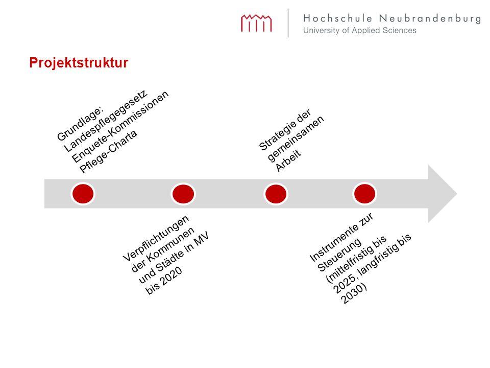Projektstruktur Grundlage: Landespflegegesetz Enquete-Kommissionen Pflege-Charta Strategie der gemeinsamen Arbeit Verpflichtungen der Kommunen und Städte in MV bis 2020 Instrumente zur Steuerung (mittelfristig bis 2025, langfristig bis 2030)