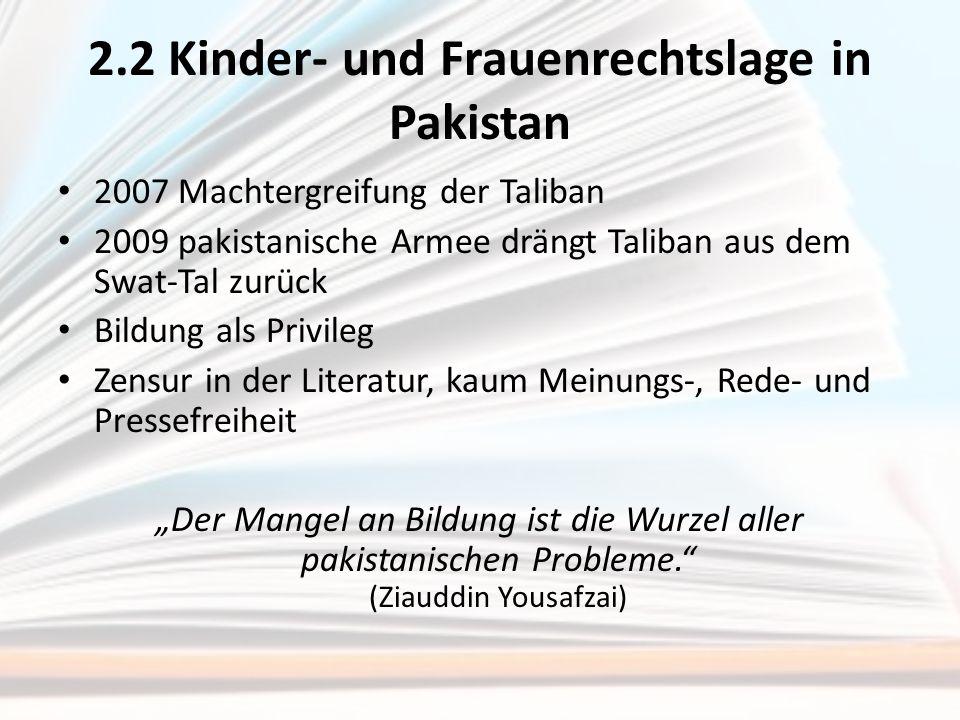 2.2 Kinder- und Frauenrechtslage in Pakistan 2007 Machtergreifung der Taliban 2009 pakistanische Armee drängt Taliban aus dem Swat-Tal zurück Bildung