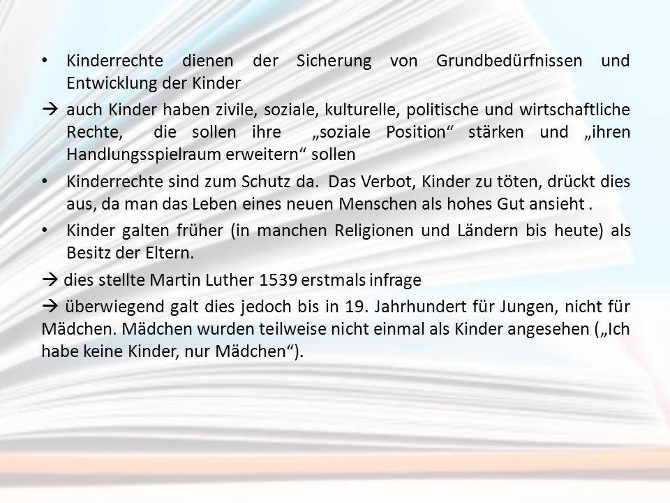 """UN-Kinderrechtskonvention (verabschiedet: 20.11.1989, in Kraft: 1990) beinhaltet Schutz-, Förder-, Partizipations- und Freiheitsrechte Artikel 1 UN Kinderrechtskonvention: """"Alle Kinder ohne jede Ausnahme haben ohne Unterschied oder Diskriminierung auf Grund der Rasse, der Hautfarbe, des Geschlechts, der Sprache, der Religion, der politischen oder sonstigen Überzeugung, der nationalen oder sozialen Herkunft, des Eigentums, der Geburt oder der sonstigen Umstände, die in der eigenen Person oder in der Familie begründet sind, Anspruch auf diese Rechte."""