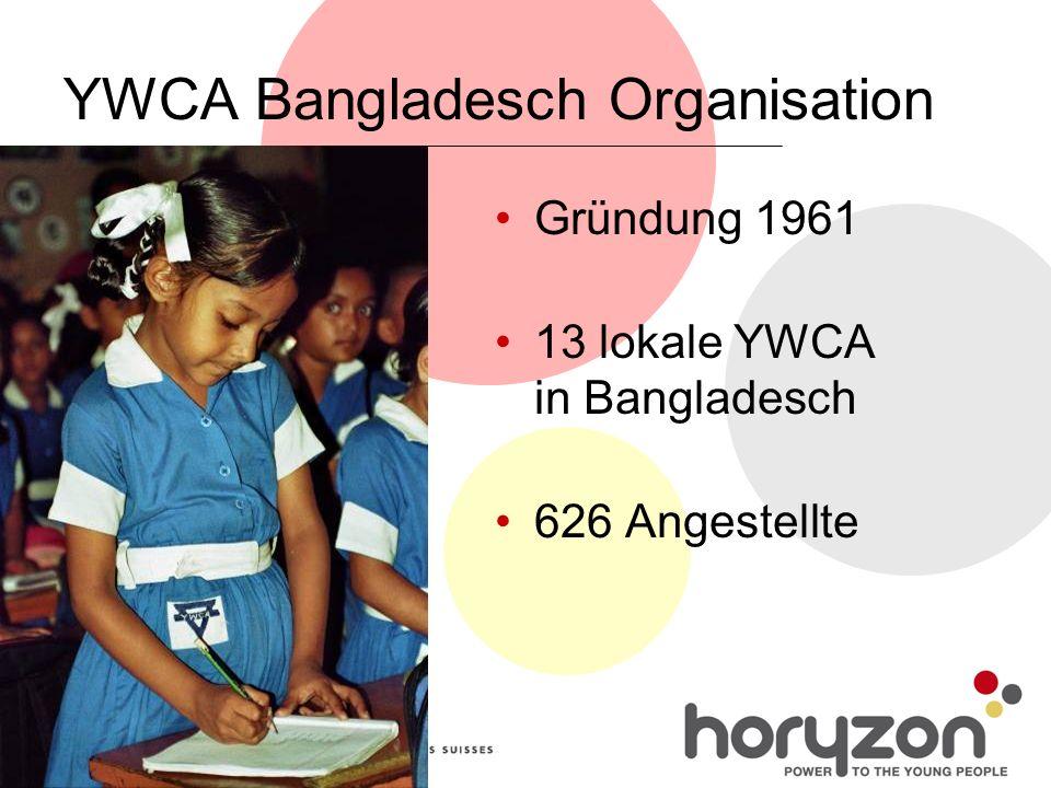 YWCA Bangladesch Organisation Gründung 1961 13 lokale YWCA in Bangladesch 626 Angestellte